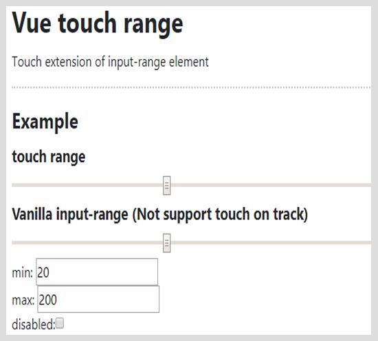 vue touch range